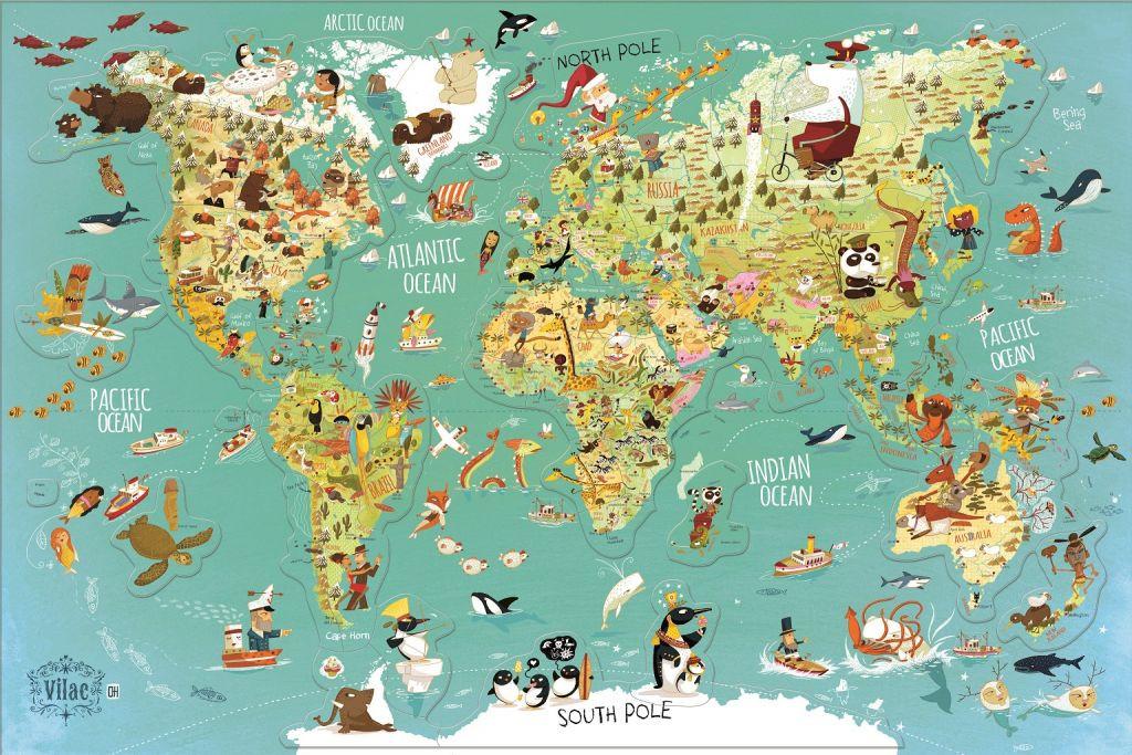 Vilac Nastenna Magneticka Mapa Sveta 78 Dilku Anglicke Texty