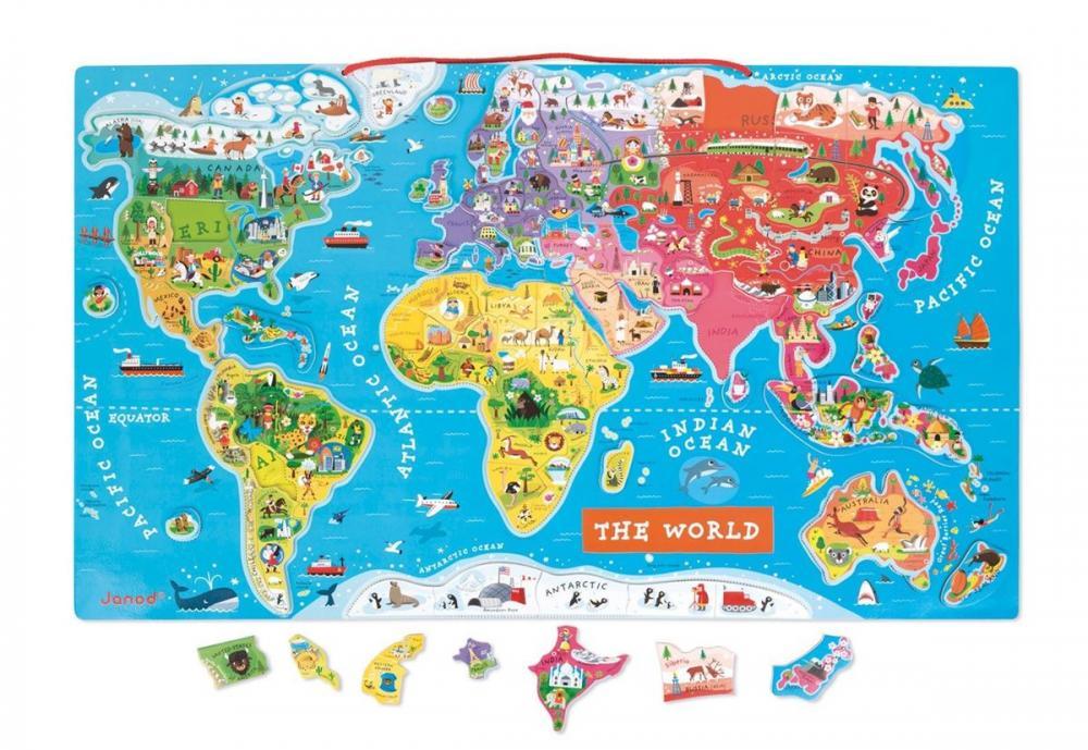 magnetická mapa světa pro děti Janod